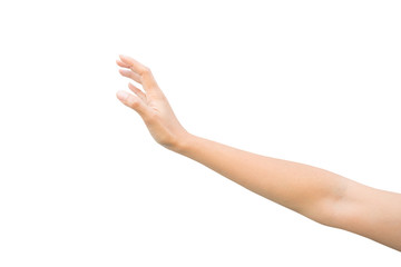 right hand of a woman trying to reach or grab something. Reaching out to the left. isolated on white background