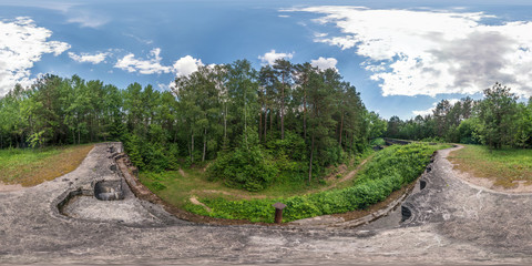 Full seamless 360 degrees angle  view panorama on the ruined abandoned military fortress of the First World War in forest in equirectangular spherical projection. Ready for VR AR content