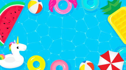 Pool Party frame background vector illustration. Top view of swimming pool with cute pool floats.