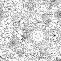 Tribal vintage floral ethnic seamless pattern with mandalas. Black and white oriental tiled ornament, boho design. Vector background.