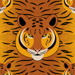 Tiger. Head, fur texture. Seamless pattern