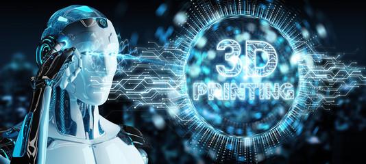 Robot white using 3D printing digital hologram 3D rendering