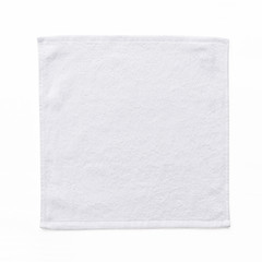 White cotton towel mock up template square size fabric wiper isolated on white background with clipping path, flat lay top view