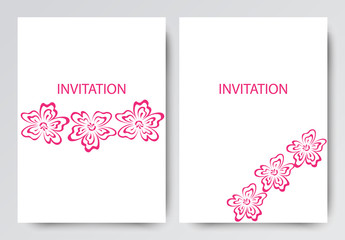 Layout of brochures, invitations, leaflets. Pink flowers on white background.