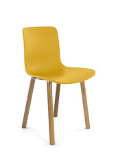 Yellow Plastic Modern Chair with Wood Legs Three Quarter View