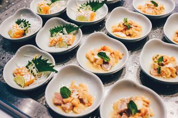 Sashimi on the plate, japanese food.