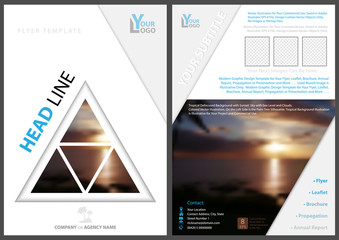 Elegant Flyer Template with Triangle Tropical Background - Abstract Modern Illustration, Vector