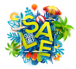Summer sale banner with paper cut leaves, palms, airplane, sun, ball. Symbol concept for paradise, resort and tourists banner, flyer, poster, web site. Paper art cut out, vector illustration