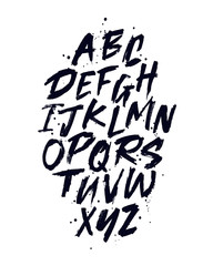 Vector Hand Drawn Alphabet Font. Brush painted letters