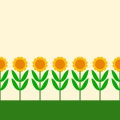 Simple cartoon sunflowers row seamless border, vector