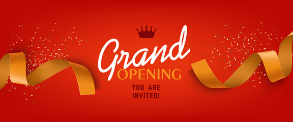 Grand opening red banner design with gold ribbon, crown and confetti. Festive template can be used for invitation cards, flyers, posters.