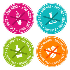 Wall Mural - Corn free, GMO free, Alcohol free and Caffeine free Badges. Eps10 Vector.