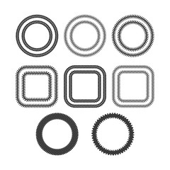 Black and white tire tread protector track frames set, vector