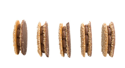 nut sandwich with chocolate sandwich isolated