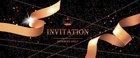 Invitation vip card template with crown, curled ribbon and sparks on black glitter background. Lettering can be used for flyers, certificates, banners