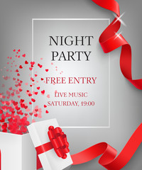 Night party lettering with open gift box. Party invitation design. Typed text, calligraphy. For leaflets, brochures, invitations, posters or banners.