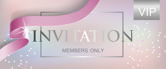 VIP invitation members only lettering with ribbon. Party invitation design. Typed text, calligraphy. For leaflets, labels, invitations, posters or banners.