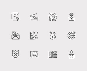 Court icons set. Police and court icons with stamp, write and cowboy. Set of pay for web app logo UI design.