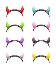 Colorful evil horns head gear.