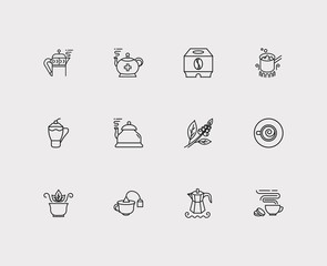 Coffee icons set. Coffee beans and coffee icons with tea bag cup, herbal tea and cafe macchiato. Set of boiled for web app logo UI design.