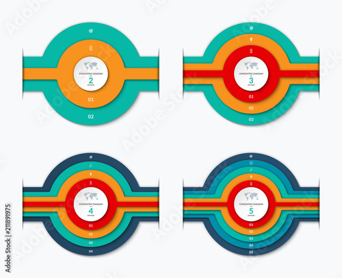 Concentric Circles Diagram For Infographics Set Of Vector Banners