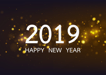 Happy new year 2019 with gold bokeh stype background. Vector illustration