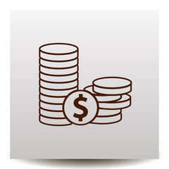 Coins and dollar cent line vector icon on a realistic paper background with shadow