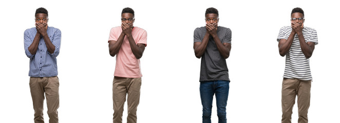 Collage of african american man wearing different outfits shocked covering mouth with hands for mistake. Secret concept.