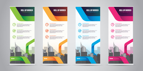 Business Roll Up Banner Standee Design with 4 Various Color Template. Vector Illustration.