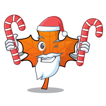 Santa with candy red maple leaf mascot cartoon