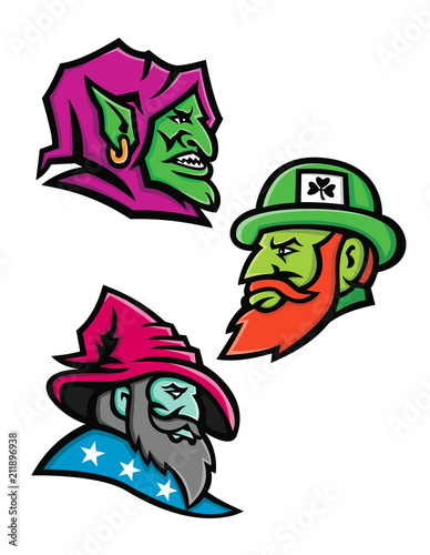 4609db08b1 Mascot icon illustration set of heads of a goblin, Irish leprechaun and a  wizard, sorcerer, warlock or magician viewed from side on isolated  background in ...