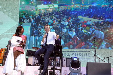 French President Emmanuel Macron answers questions during a live interview on Trace tv at the Afrika Shrine in Lagos