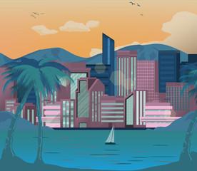 City landscape. Cityscape, modern city vector flat illustration. Summer background design.