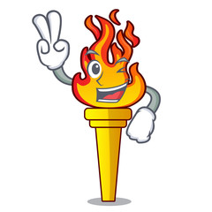 Two finger torch character cartoon style
