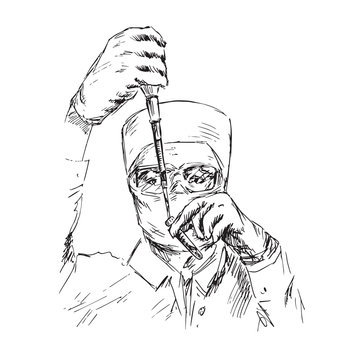 A scientist in glasses is filling a test tube, hand drawn doodle, sketch in pop art style, black and white vector illustration