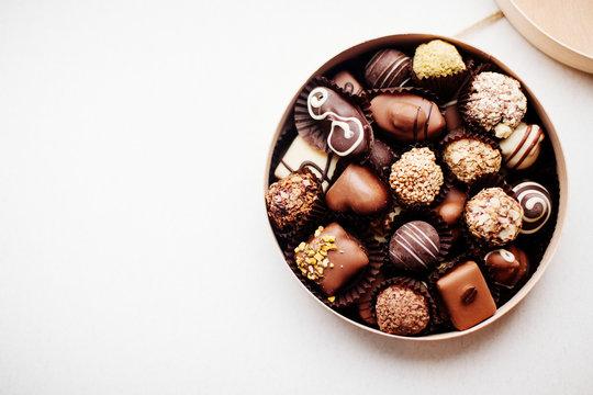 Box of chocolate candy.