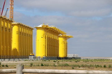 construction site at the Maasvlakte to create wind turbines for on the North Sea