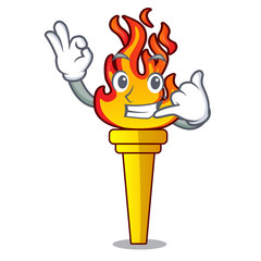 Call me torch mascot cartoon style