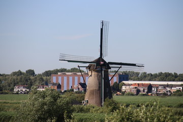 Fields with windmills at Kinderwijk in the Netherlands.