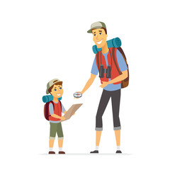 Father and son go camping - cartoon people characters illustration