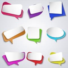 Vector colorful bubble speech icons set