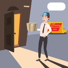 Delivery worker brings a parcel, cartoon style, isolated, vector