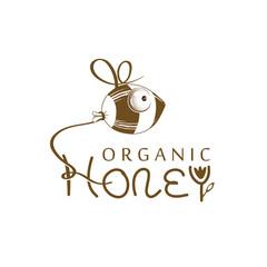 Logo bee honey organic. Vector illustration.