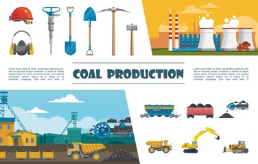 Flat Mining Industry Elements Set