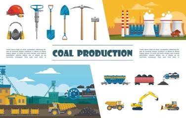 Flat Mining Industry Elements Set