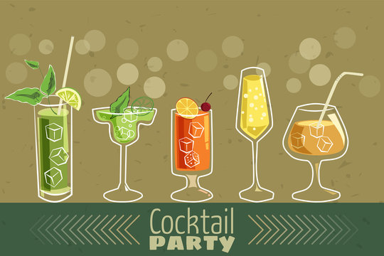 Retro poster design for cocktailbar. Vintage poster, card for bar or restaurant. Vector, isolated