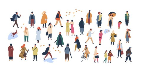 Crowd of tiny people dressed in autumn clothes or outerwear walking on street and performing outdoor activities. Group of men and women isolated on white background. Flat cartoon vector illustration. Fototapete
