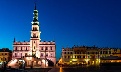 Poland, Zamosc: Great Market Square - Town Hall and Armenian Tenement Houses