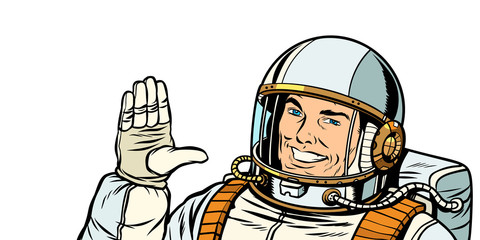 male astronaut voting hand up