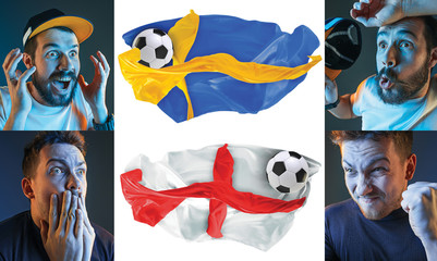 The collage about emotions of football fans of England and Sweden teems and flags isolated on white background